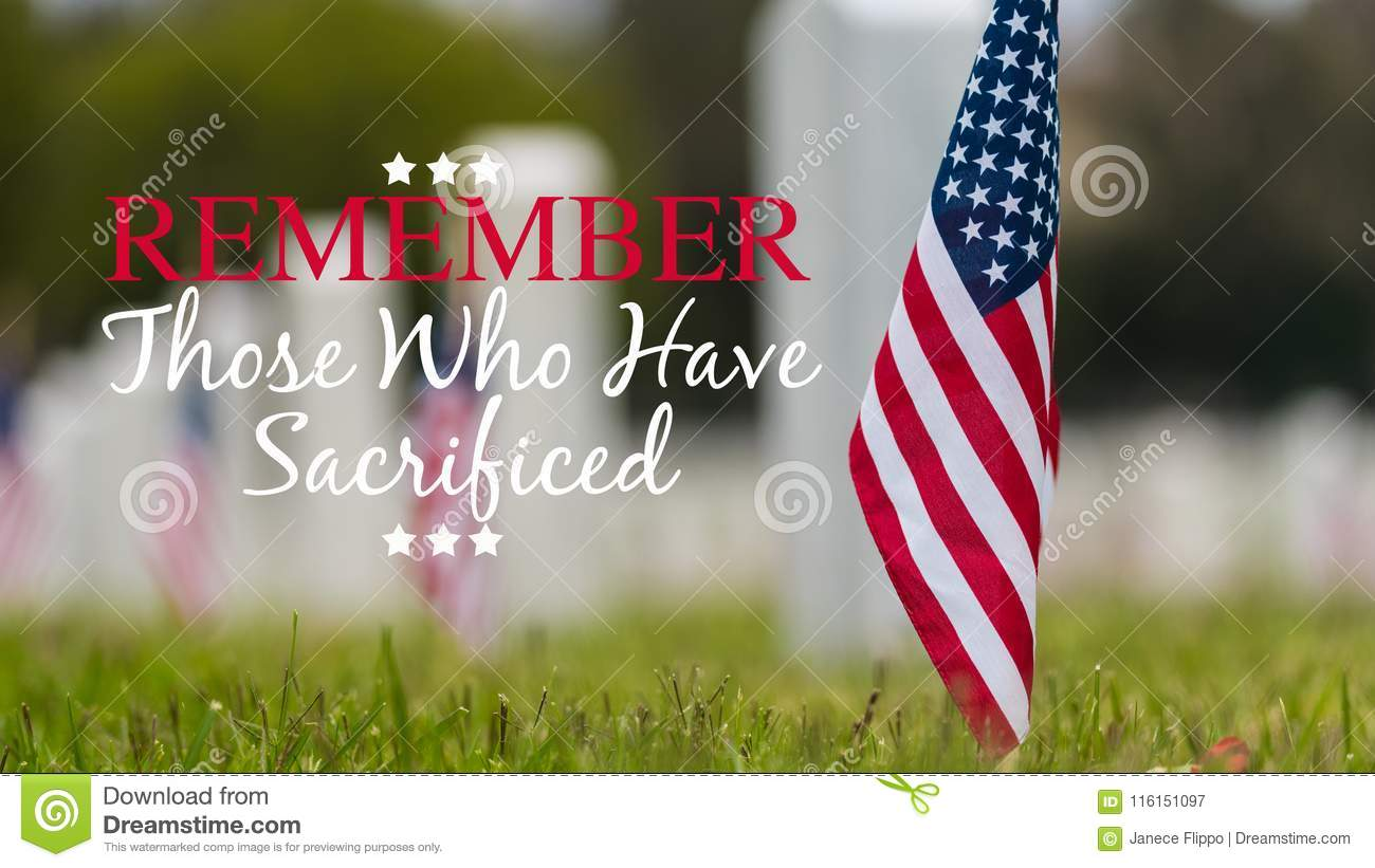 Small American flag at National cemetary - Memorial Day display -