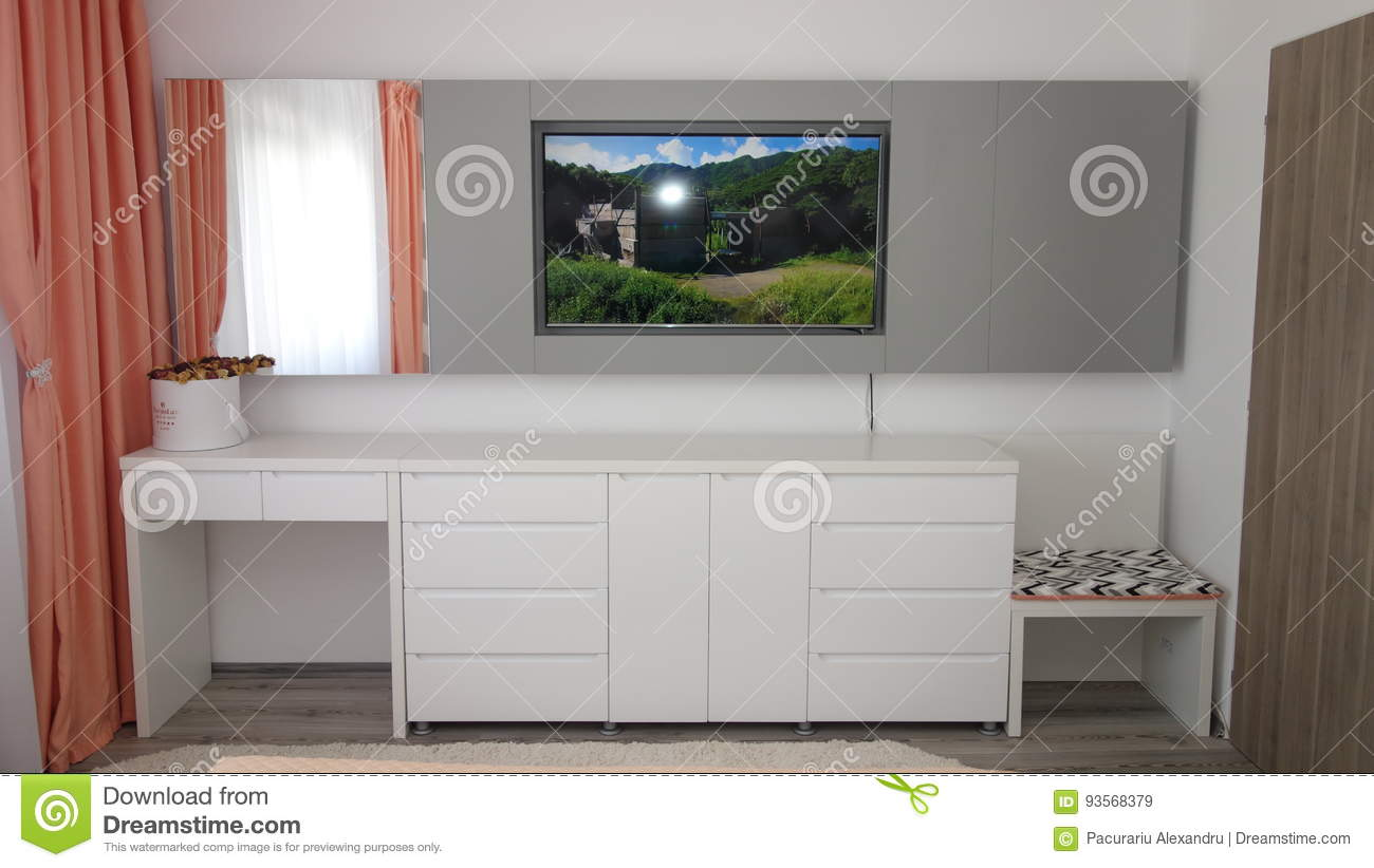 Small Apartment Bedroom Design Idea Wall Tv Stand Dressing Room