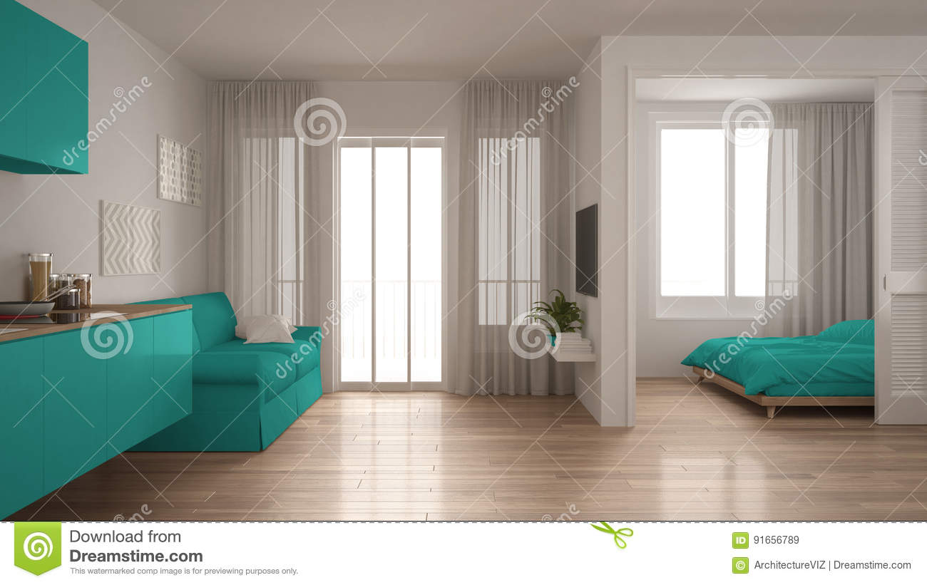 Small Apartment With Kitchen Living Room And Bedroom White And