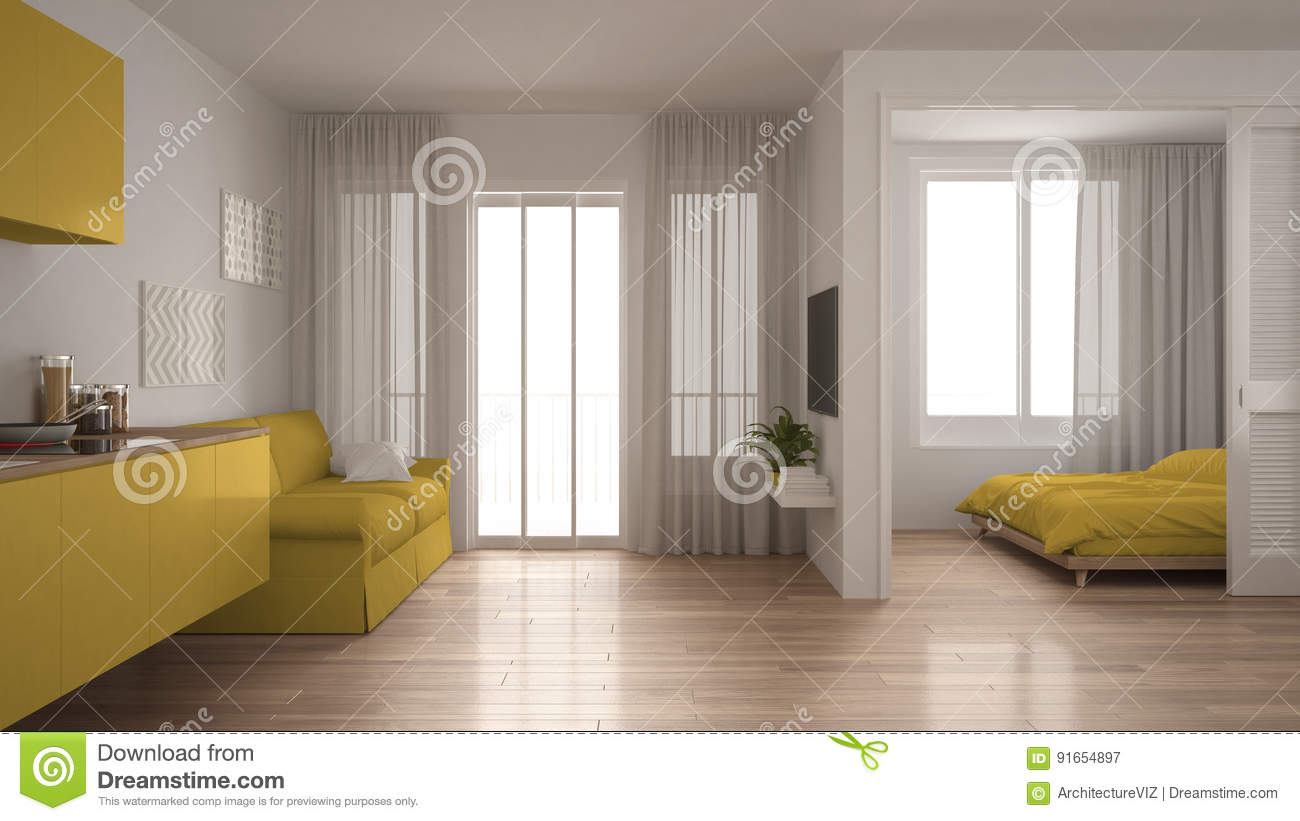 Small Apartment With Kitchen, Living Room And Bedroom, White And ...