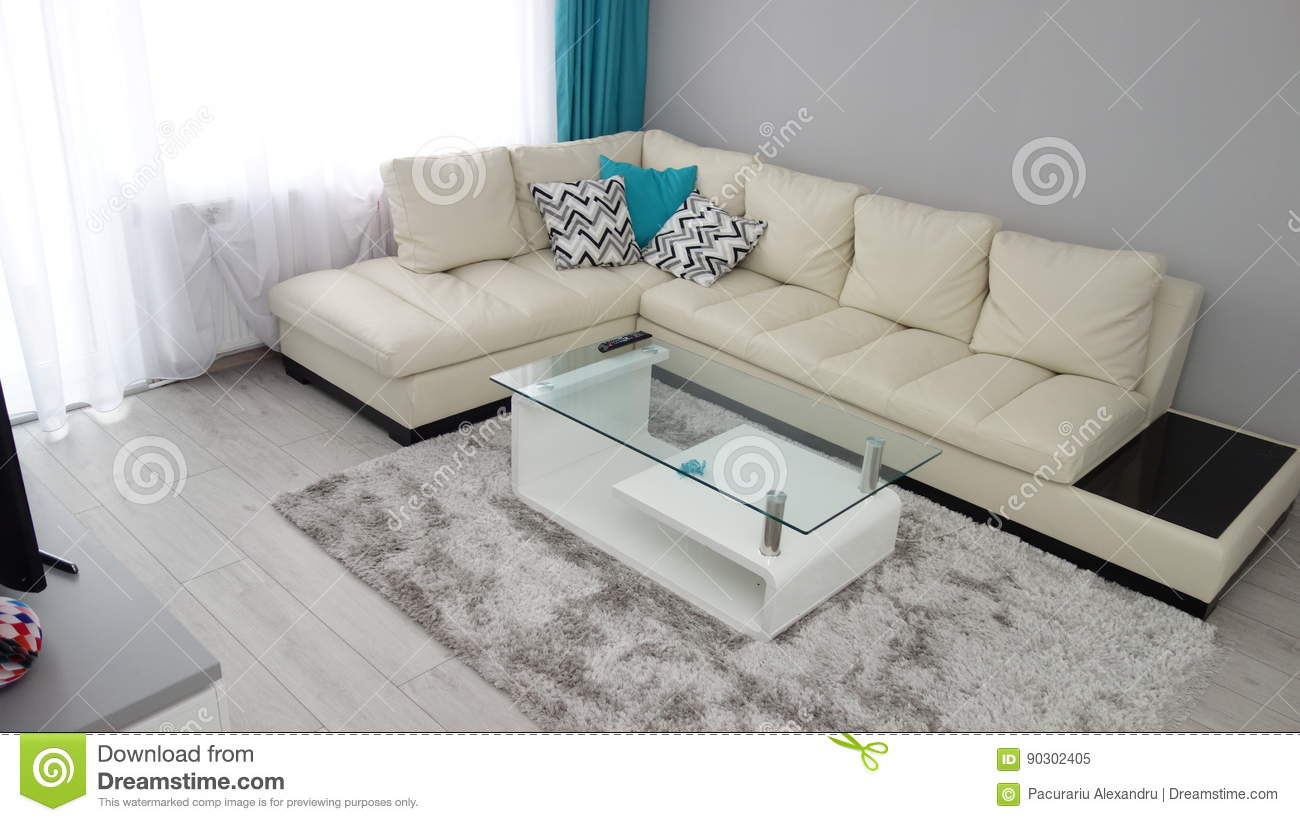 Download Small Apartment Living Room Design Idea, Leather Couch, Dressing  Room, Coffee Table