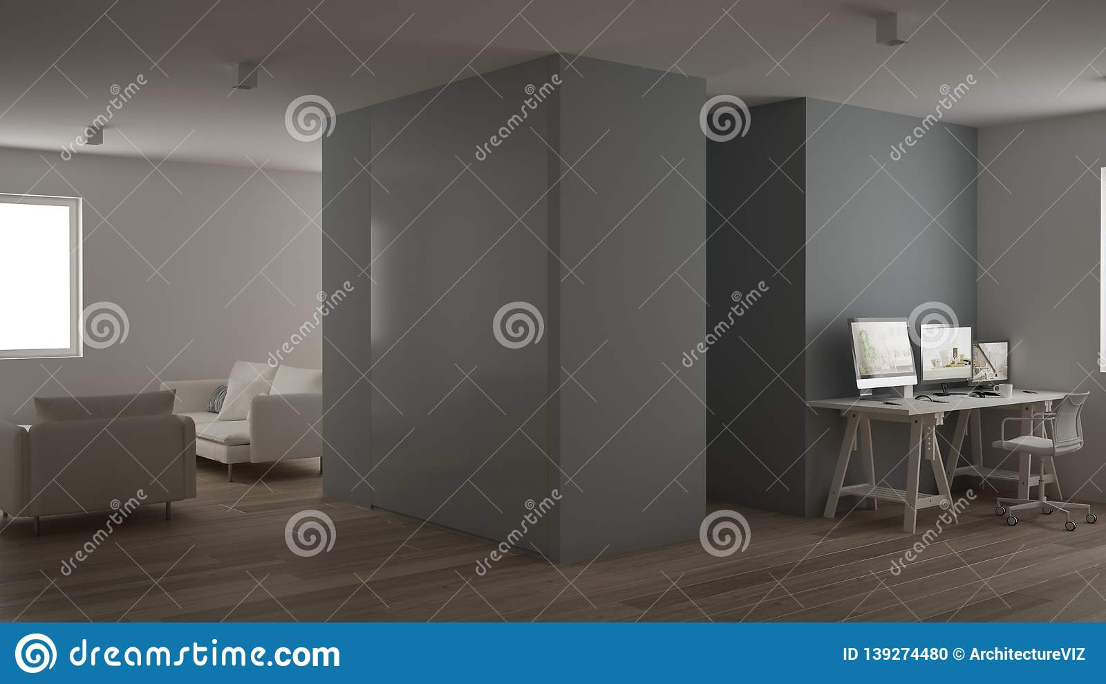 Small Apartment One Room With Parquet Floor Home Workplace