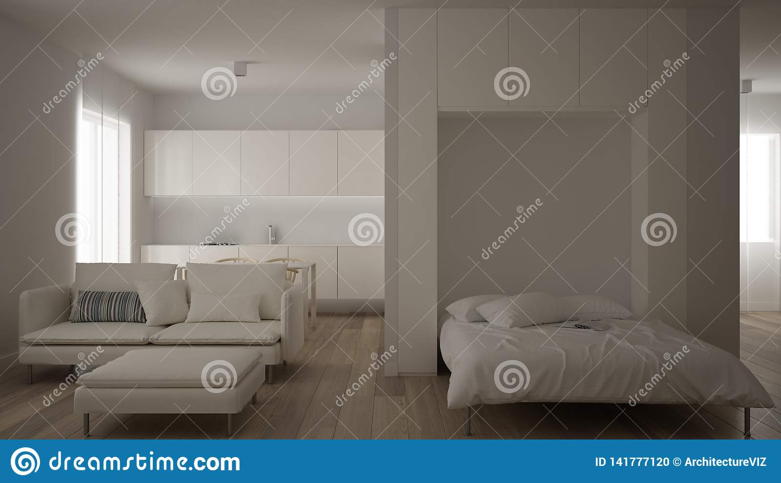 Small Apartment One Room With Parquet Floor Kitchen With Dining Table Murphy Bed Living Room Minimalist Style Modern Stock Illustration Illustration Of Fancy Contemporary 141777120