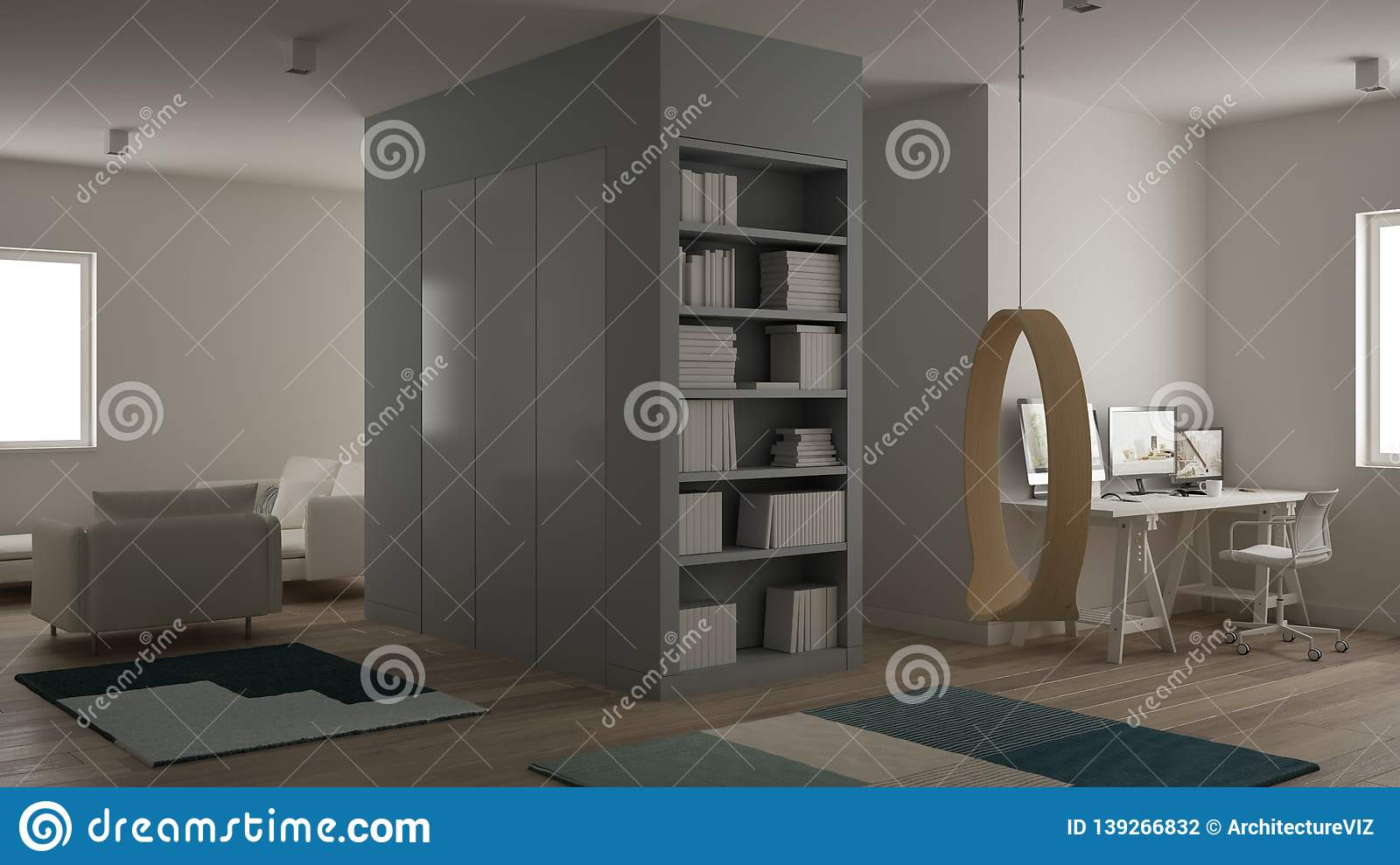 Small Apartment With Parquet Floor, Home Workplace With ...