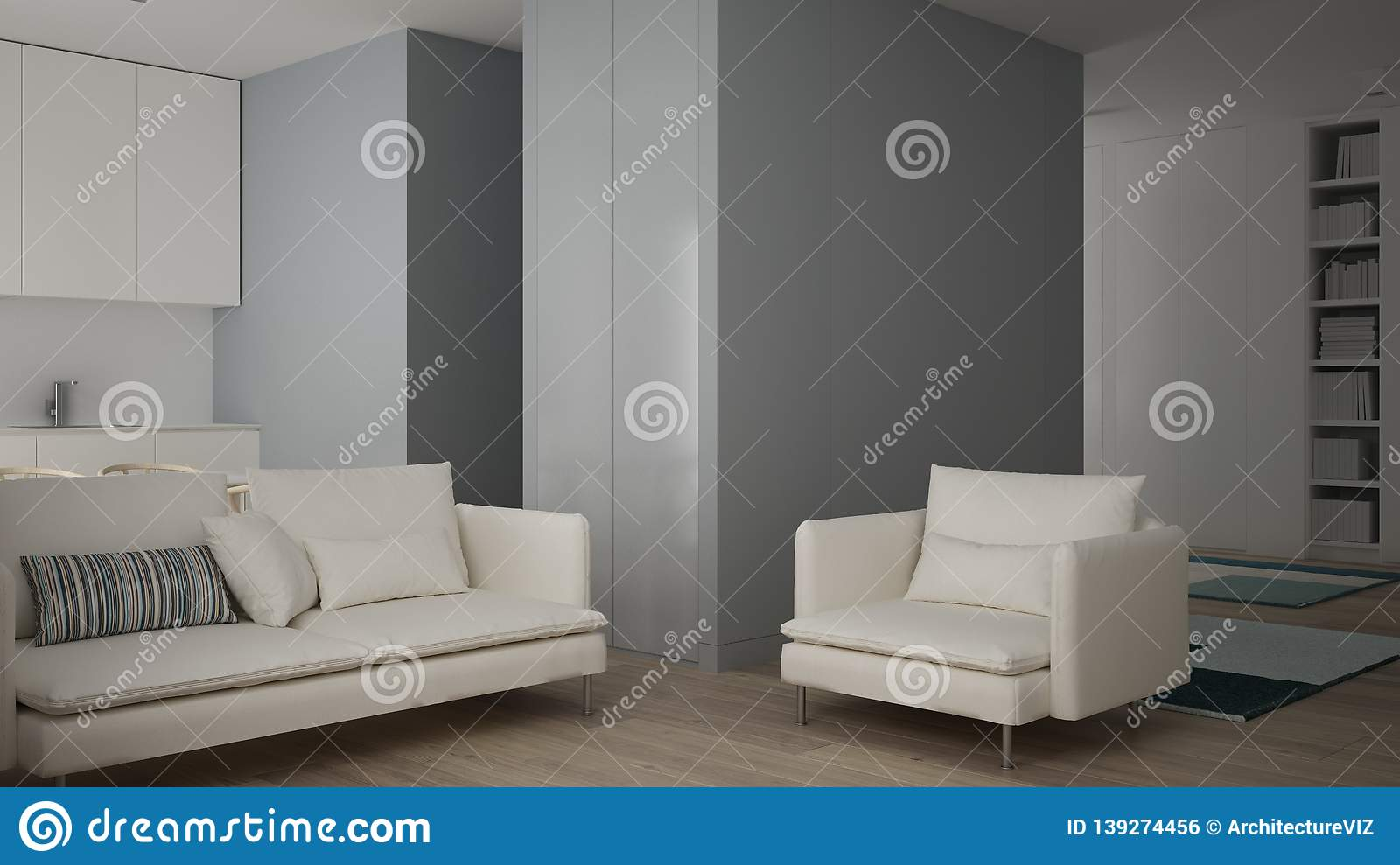Small Apartment With Parquet Floor Modern Carpet And White Sofa In Contemporary Living Room One Room Apartment In Minimalist Stock Photo Image Of Workplace Space 139274456