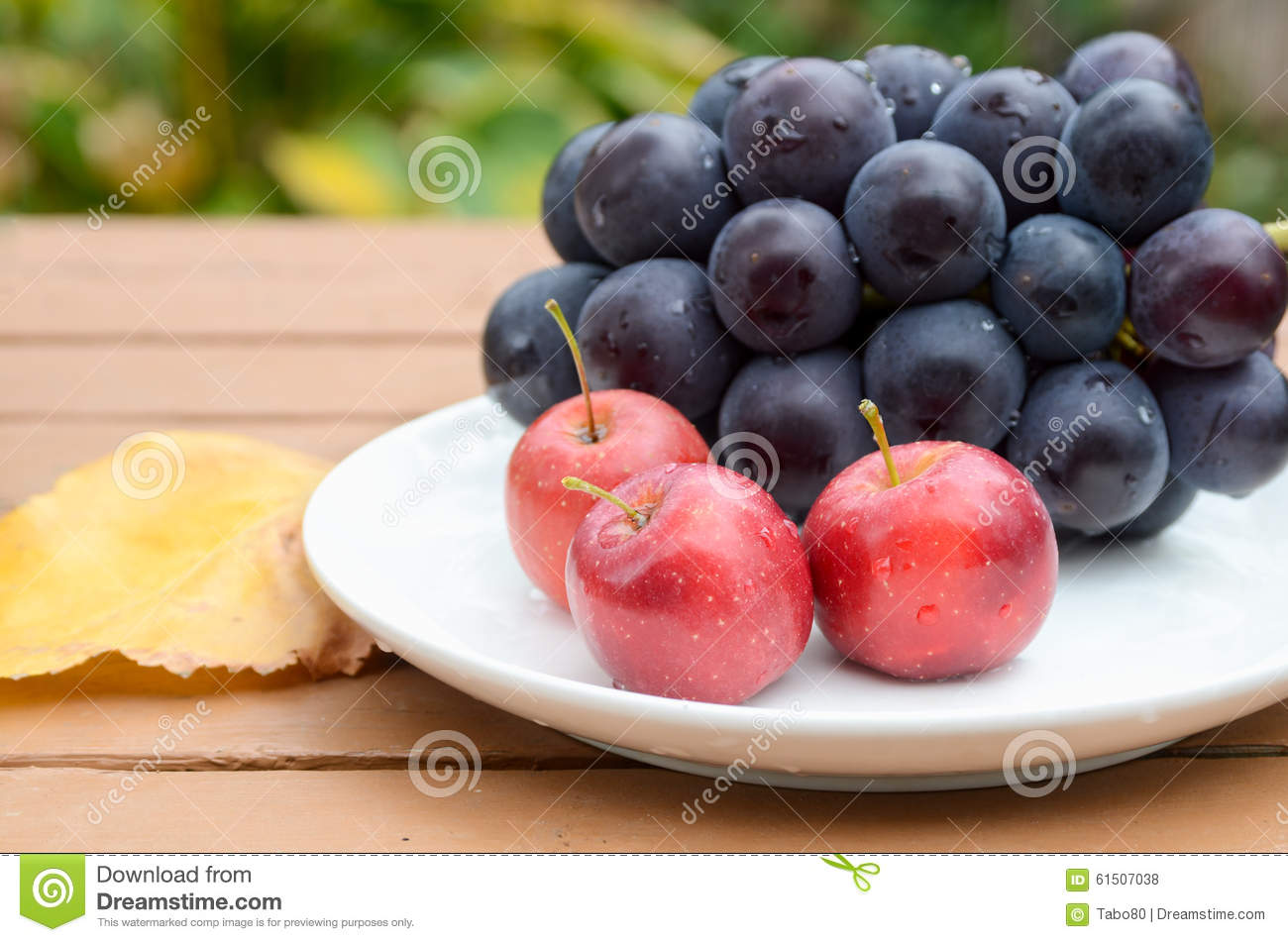Small apple and grape on white plate in autumn.