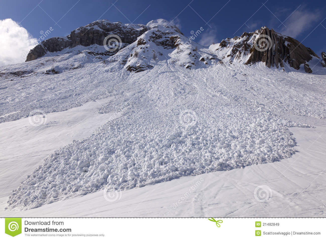Small avalanche bottom view, San Simone Ski Resort, Italy.
