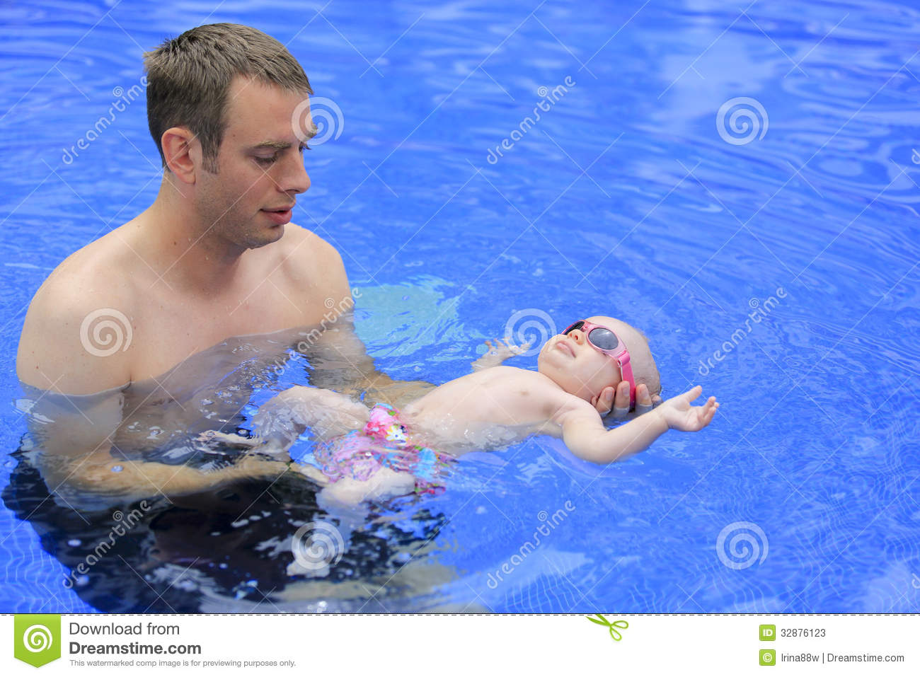 Small Baby Girl Is Swimming In The Pool Stock Photos Image 32876123