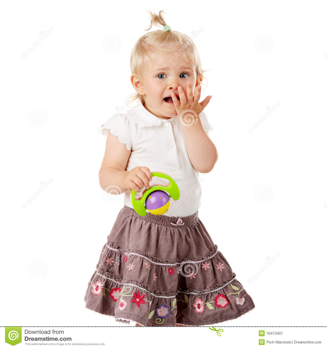 small baby girl with a toy stock image. image of construction - 10473401