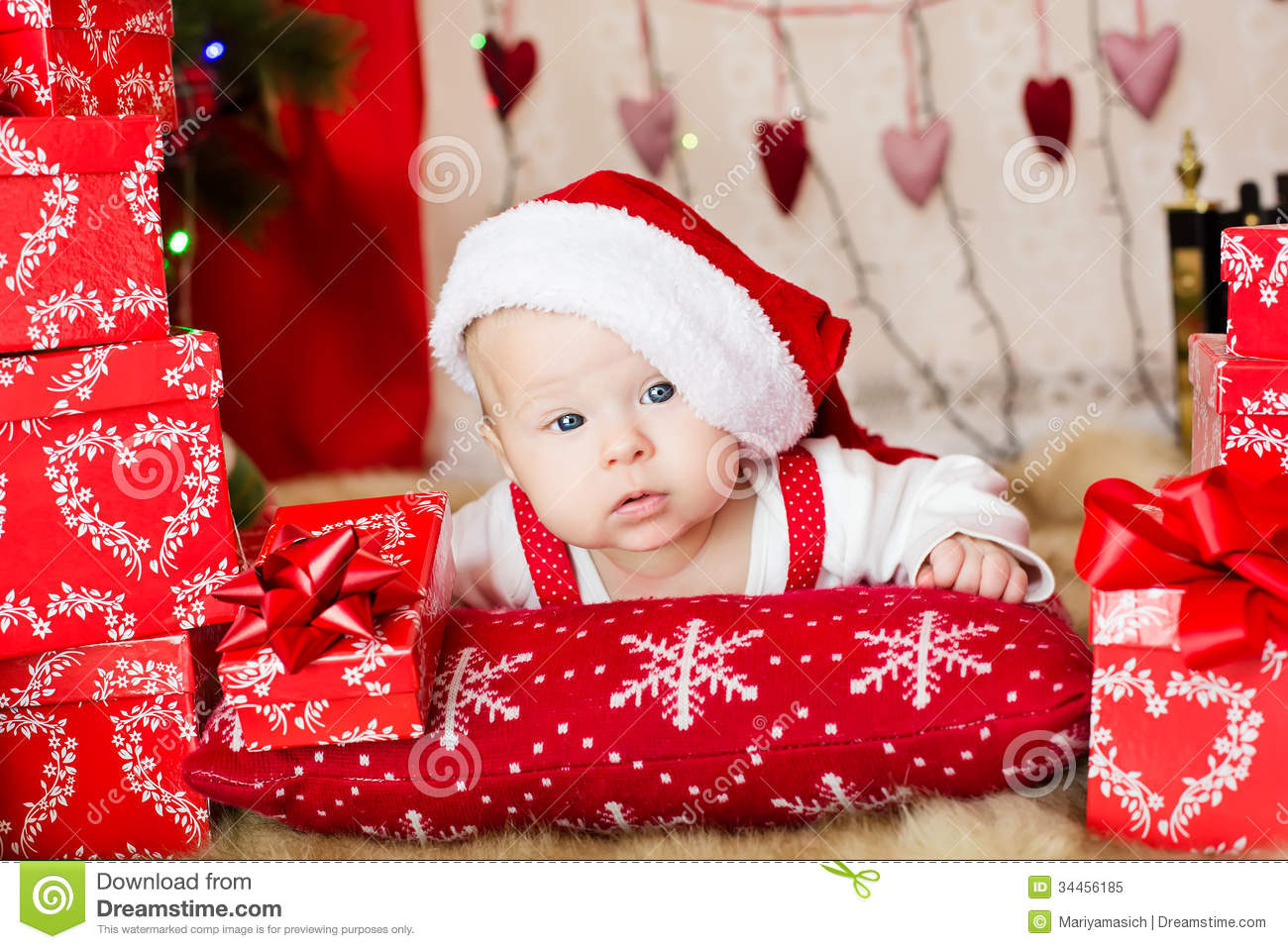 small baby in santa hat stock image. image of holiday - 34456185