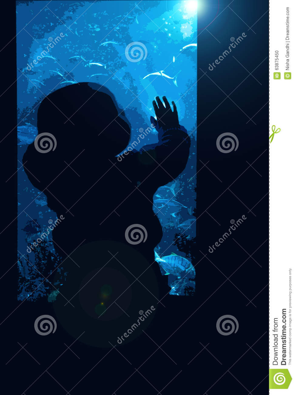 A Small Baby Toddler Watching The Fish In The Water With