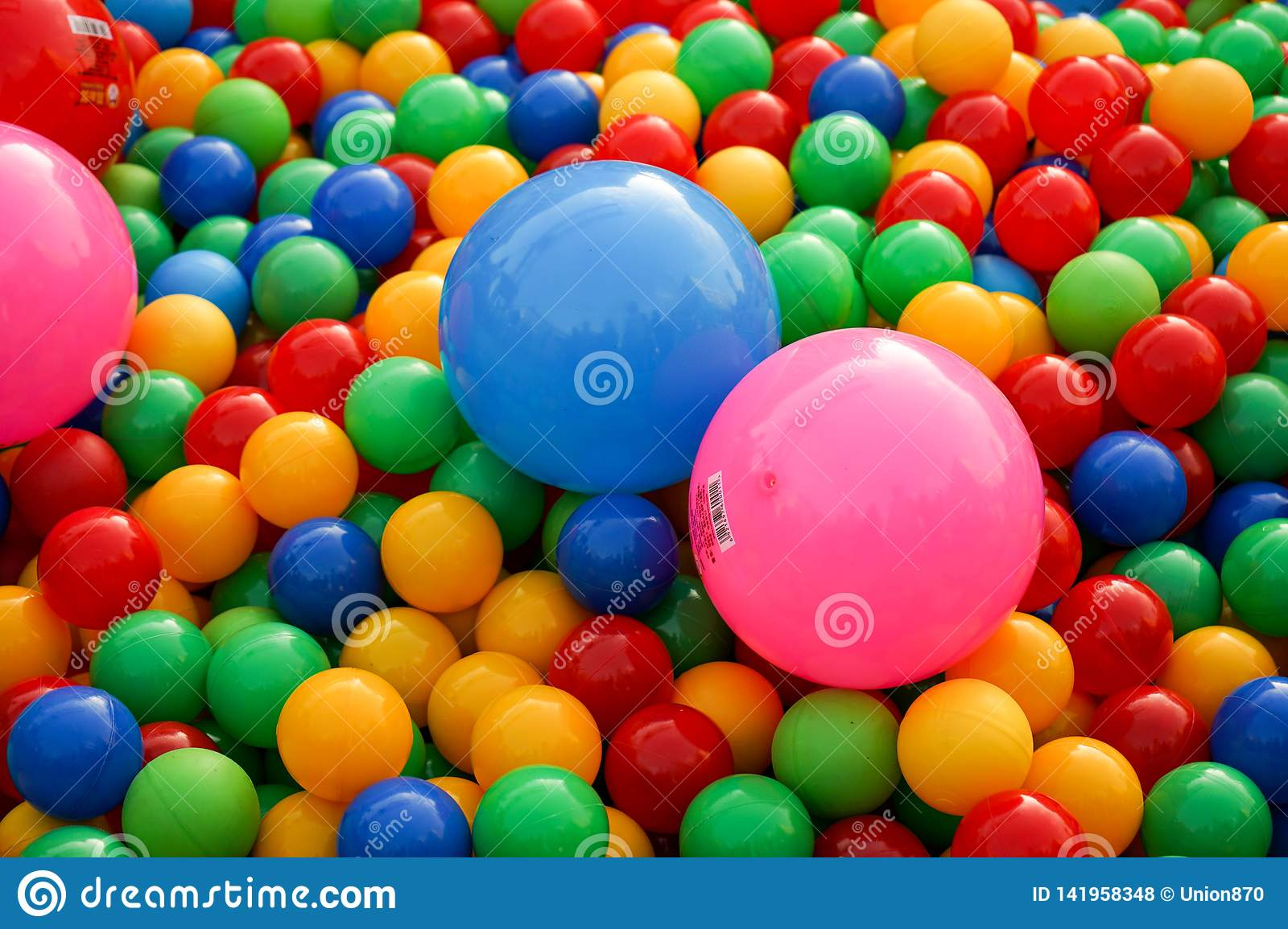 Small balls of different colors on the Playground
