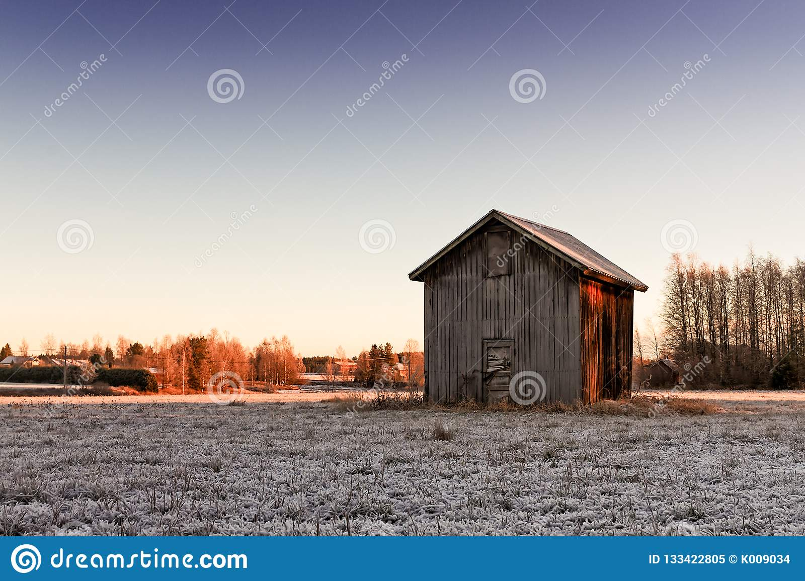 Small Barn House In The Winter Sunrise Stock Image Image Of