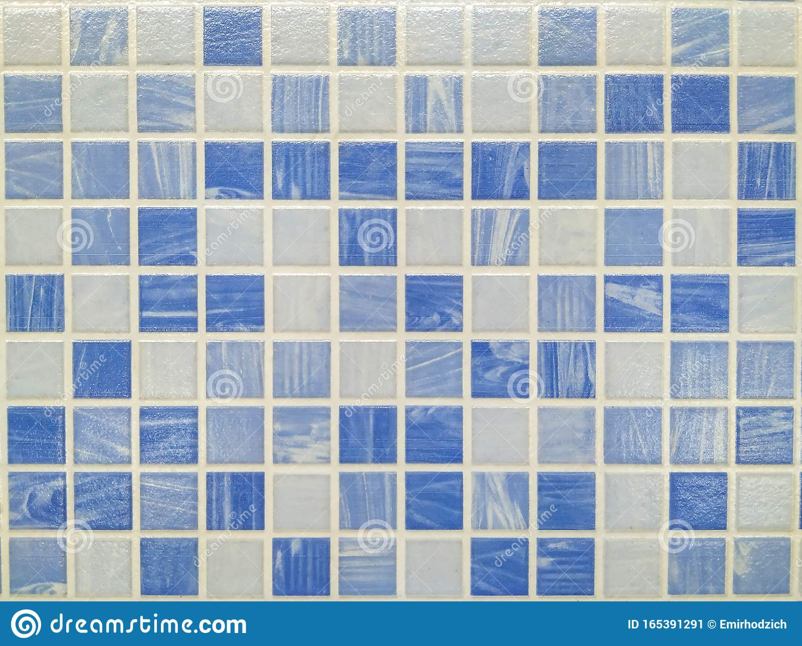 Small Bathroom Or Kitchen Tiles In Blue And White Colors Making An Interesting Textured Pattern Of Ceramics On The Wall Or Floor Stock Image Image Of Construction Floor 165391291