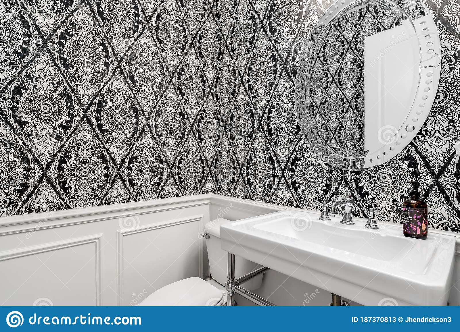 A Small Bathroom With White And Black Patterned Wallpaper Editorial Stock Photo Image Of Eclectic Design 187370813