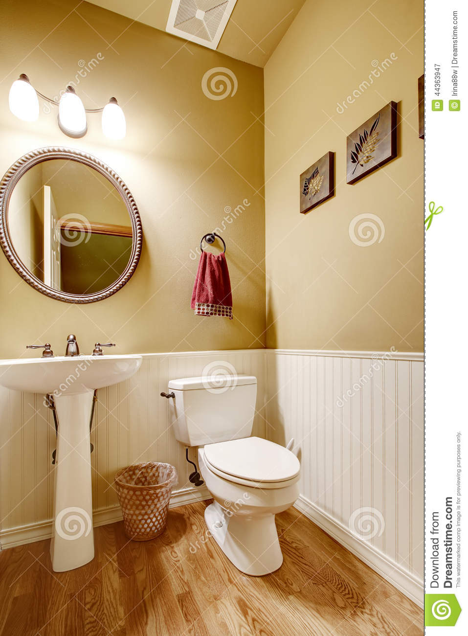 Small Bathroom With White Wall Trim Stock Photo Image