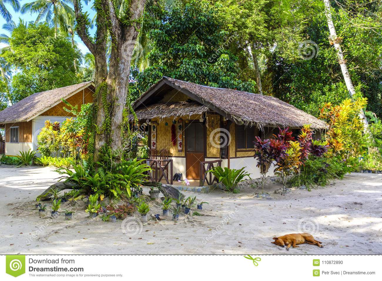 Tropical Island Beach House: Small Beach House On A Tropical Island Stock Photo