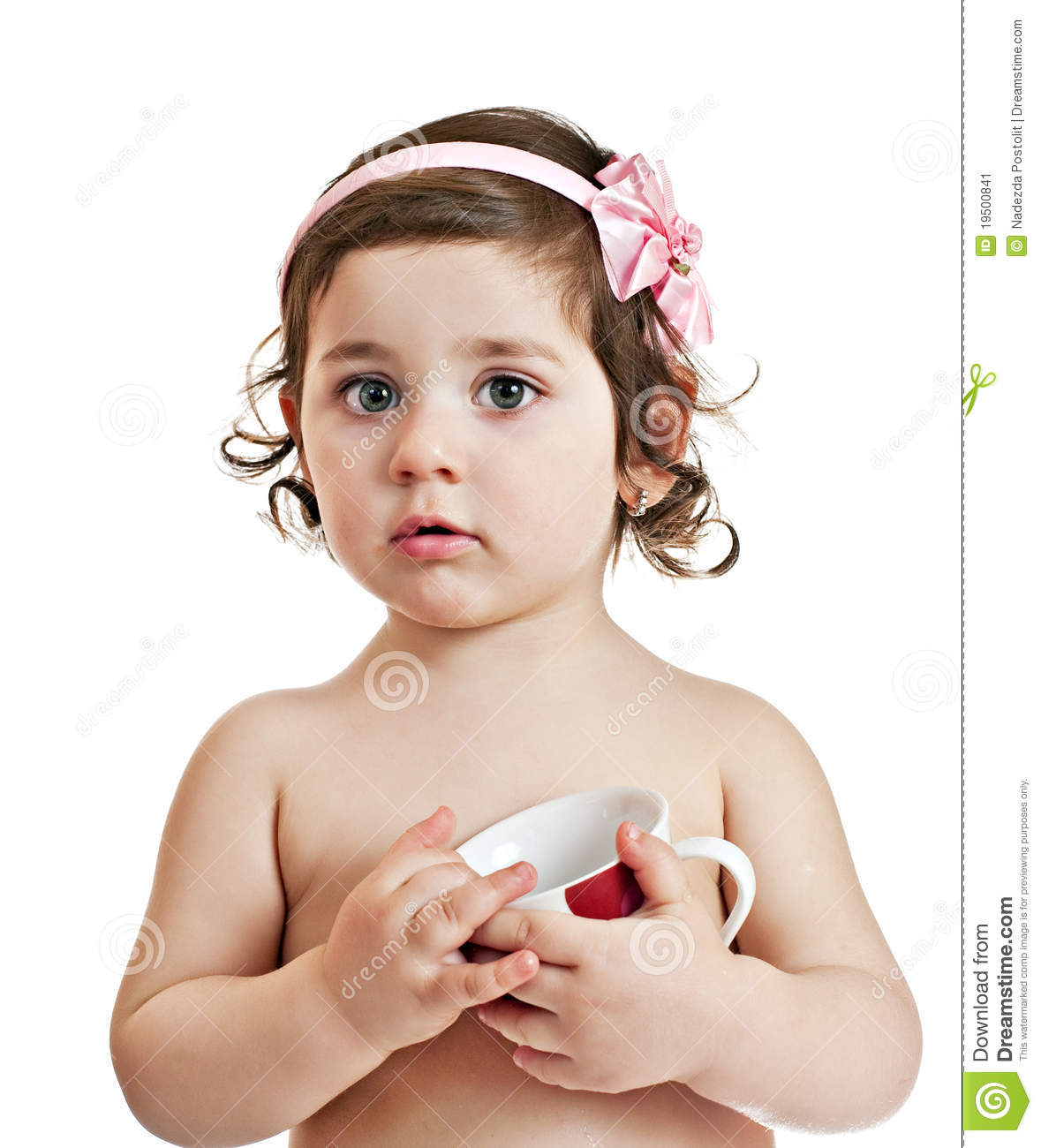 Small Beautiful Baby Girl With Cup Stock Image Image