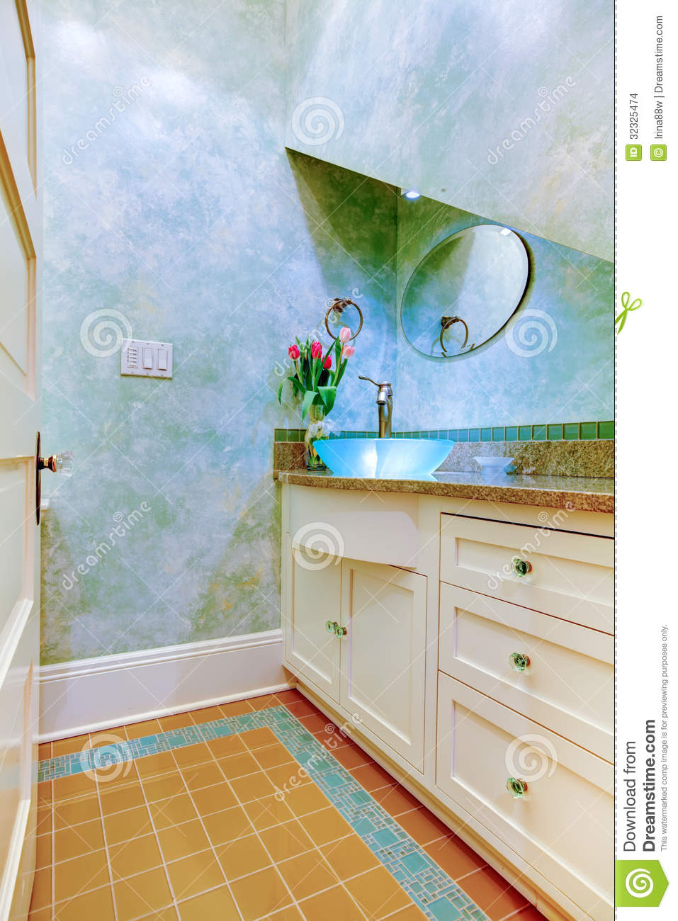 Small Beautiful Blue Bathroom Powder Room With Blue Sink