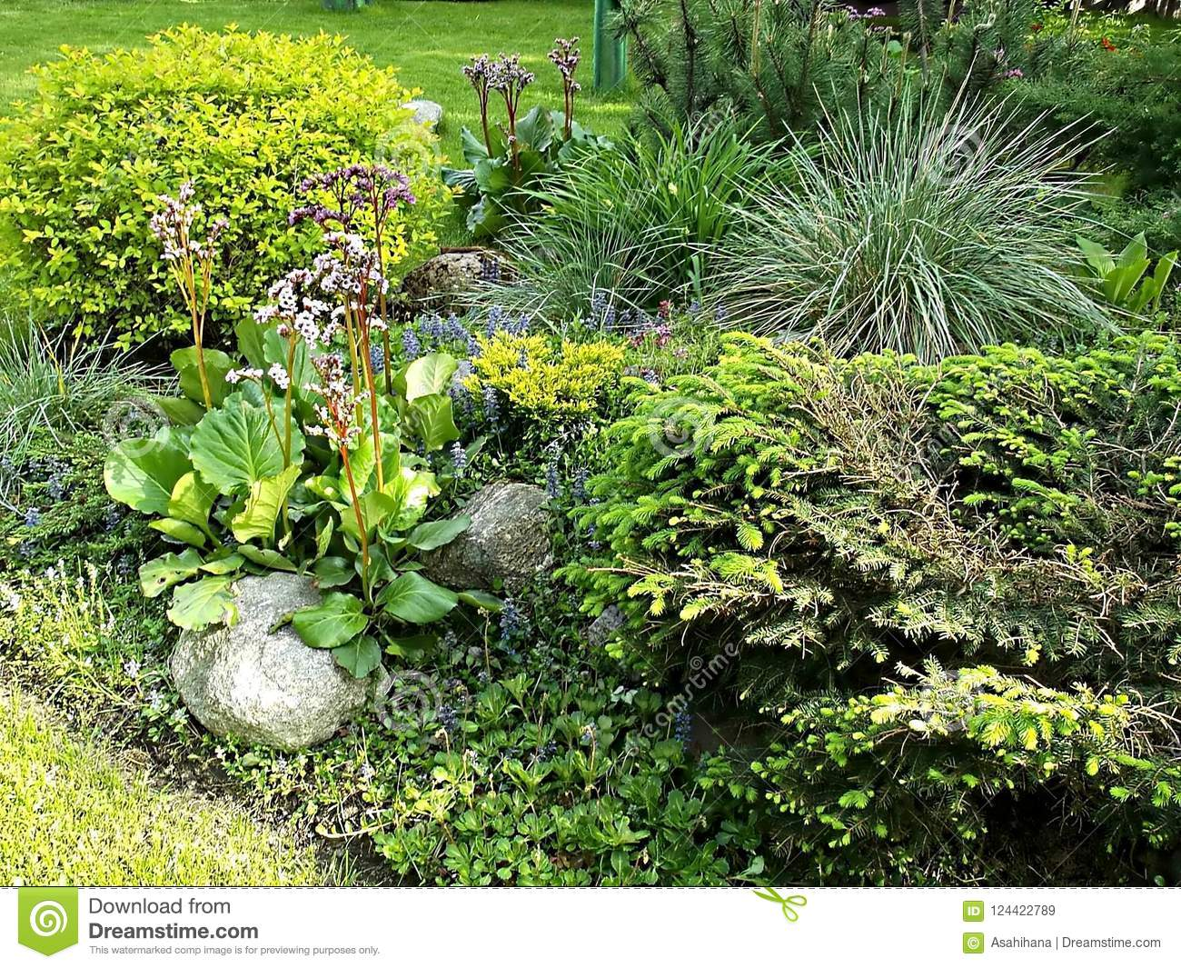 Landscape Design In A Cozy Garden. Flowers, Herbs, Bushes And Small on herb garden design software, herb garden layout design, herb garden design plans, herb container gardens, herb garden clip art, herb garden planning, herb garden ideas, herb landscaping, herb knot garden design,