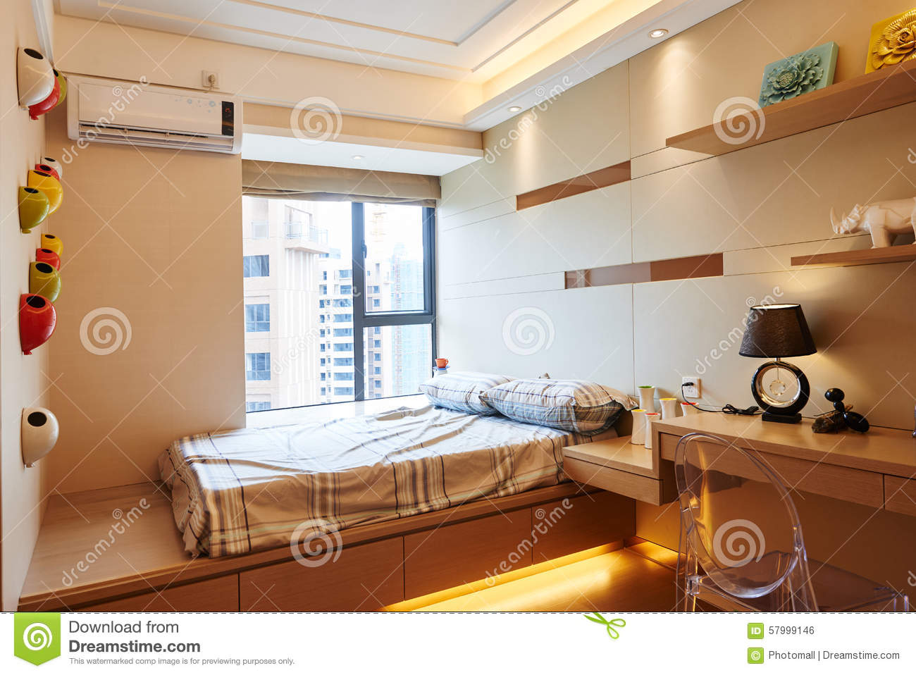 Small bedroom stock photo. Image of contemporary, cushion - 57999146