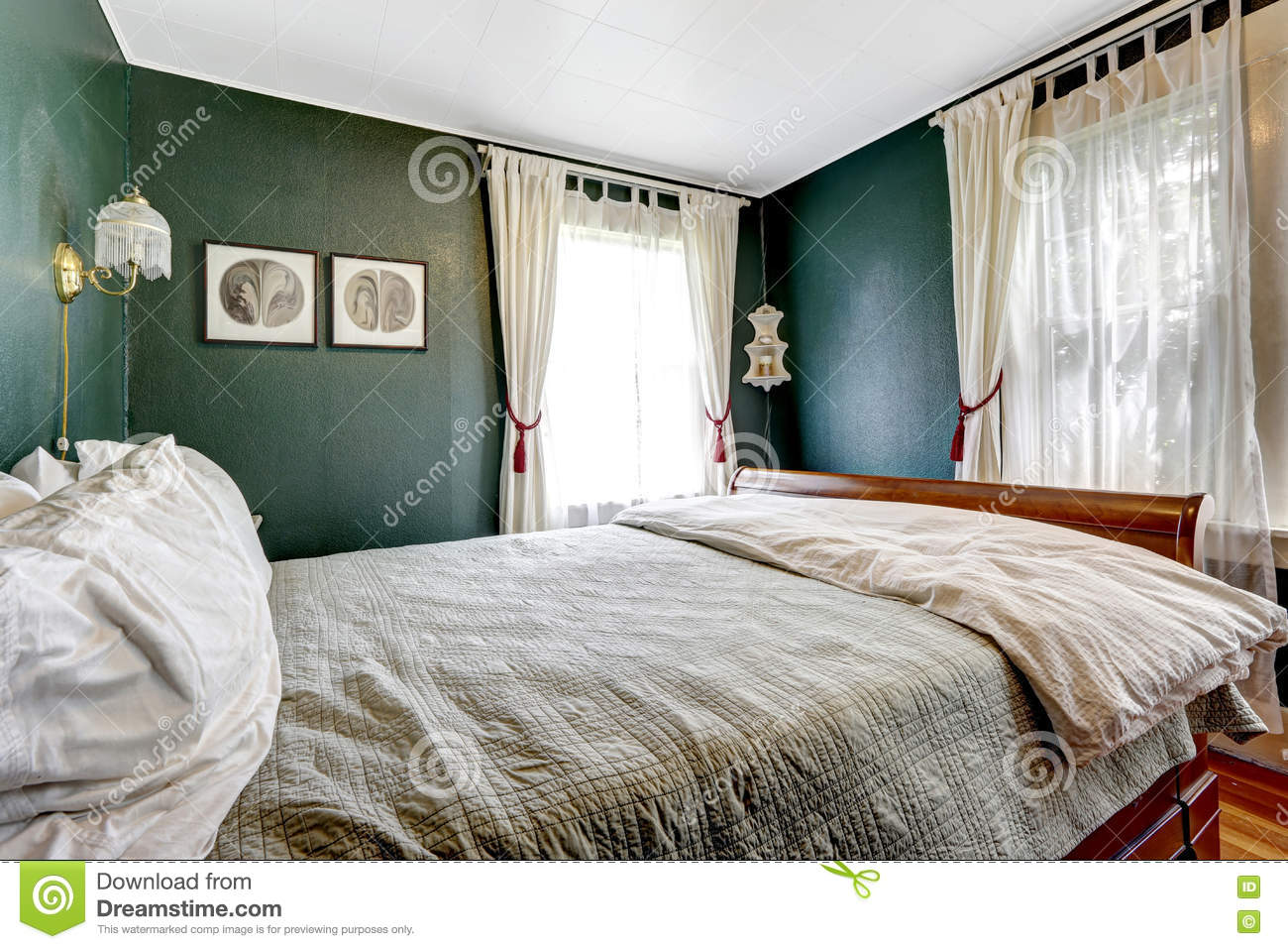 Small Bedroom With Wooden Bed Dark Green Walls Stock Image Image Of Design Open 73906029