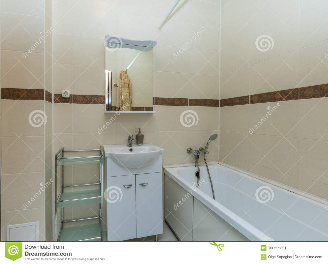 Small Beige Bathroom Stock Image Image Of Contemporary 106359821