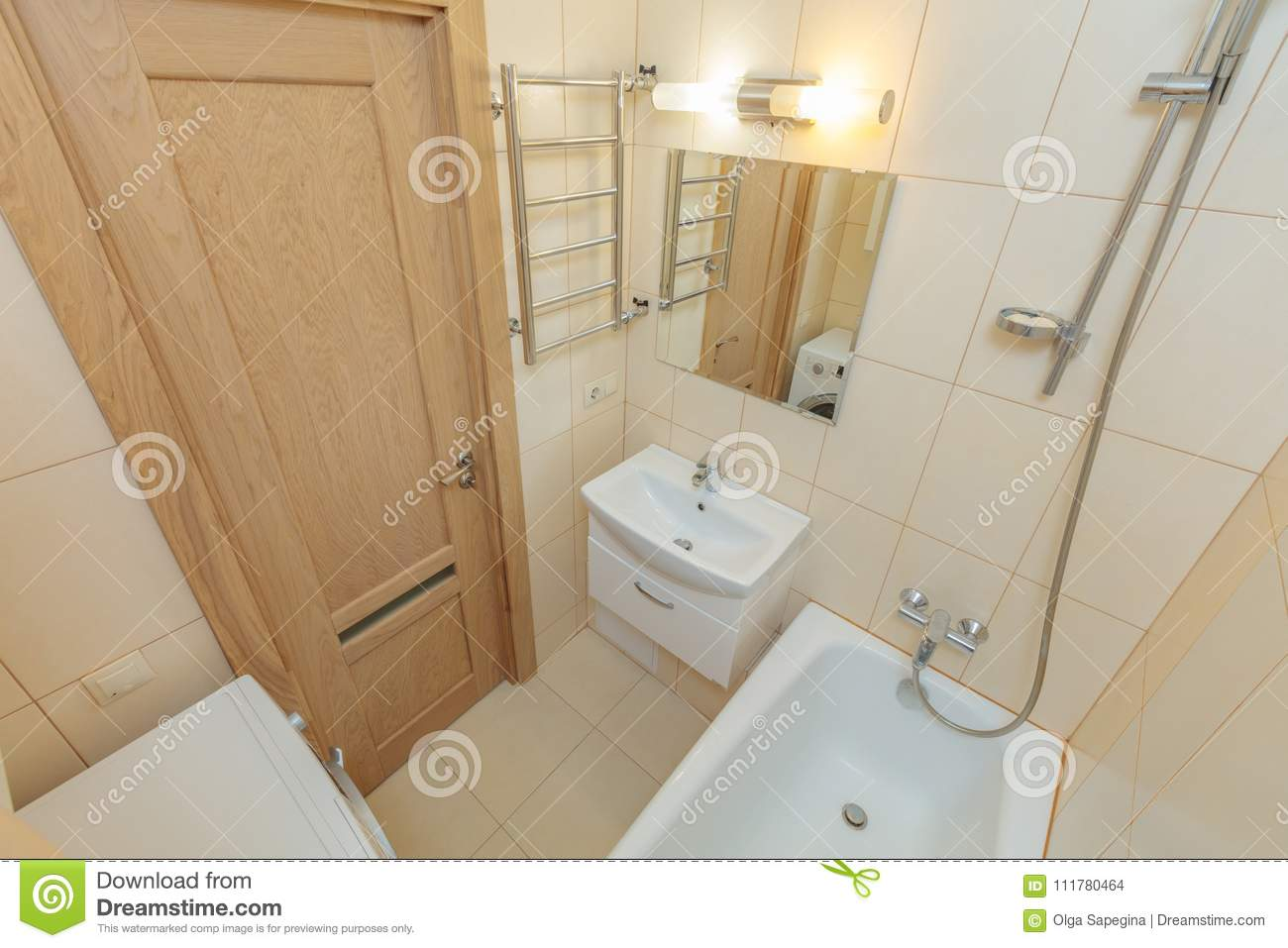 Small beige bathroom