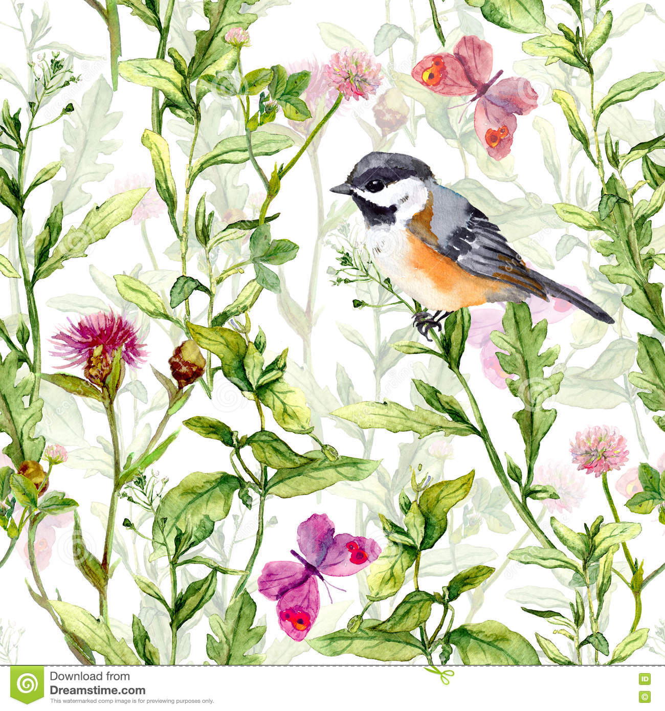 Small bird in spring meadow flowers, butterflies. Repeated pattern. Watercolor