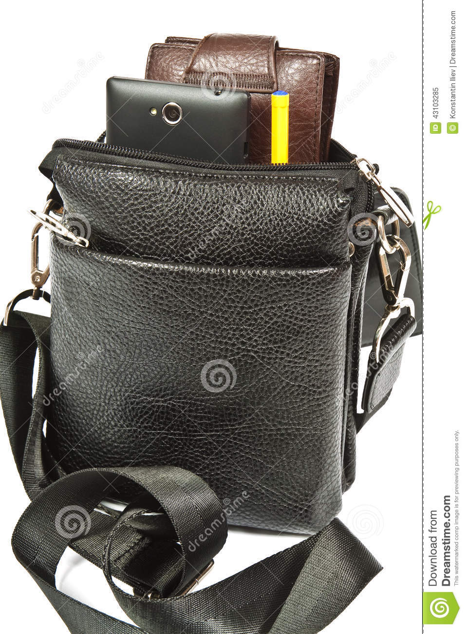 b271be5c Small Black Leather Bag Men Stock Image - Image of accessory, metal ...