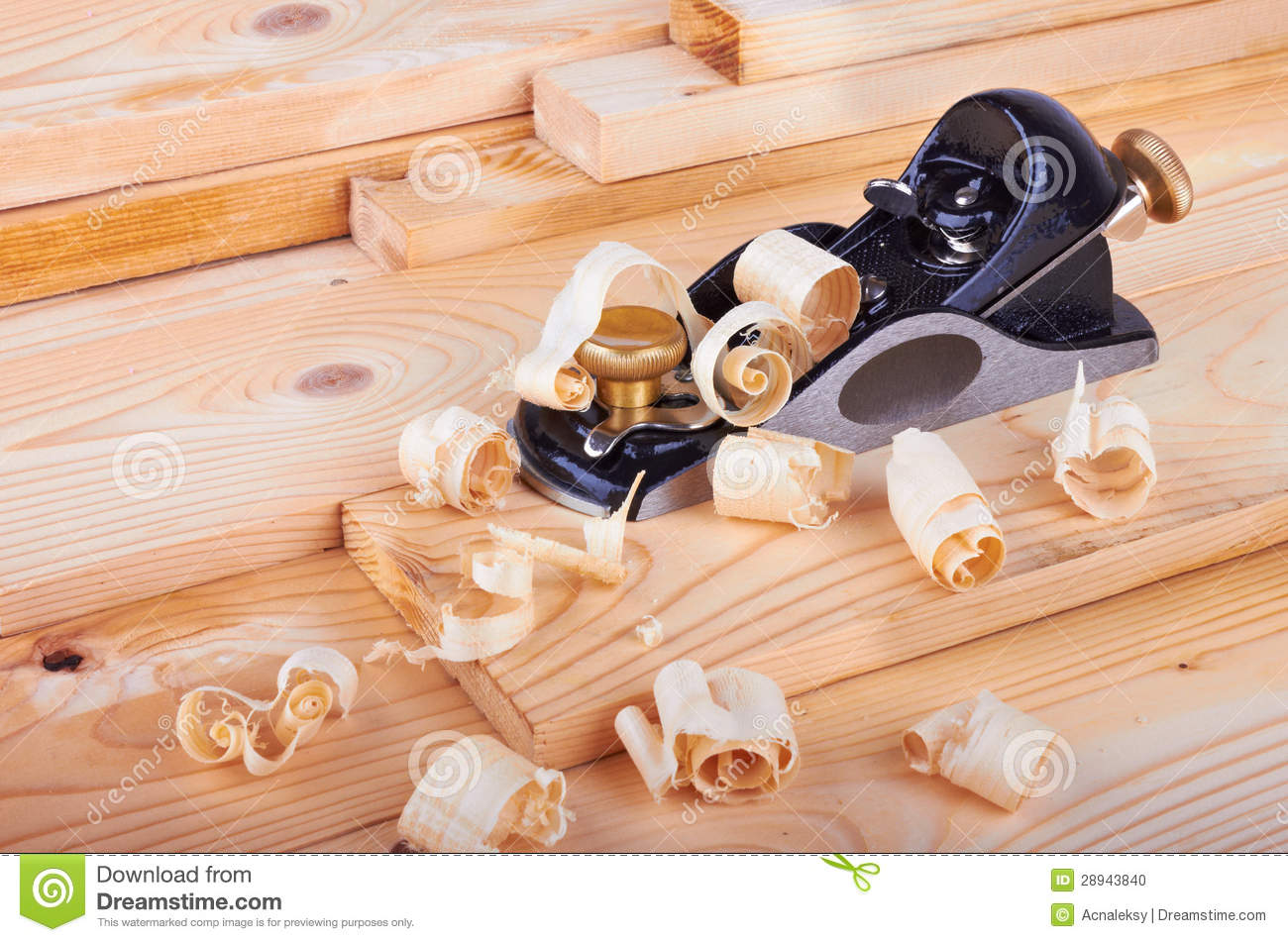 Small Block Plane And Wood With Shavings Stock Photo - Image: 28943840