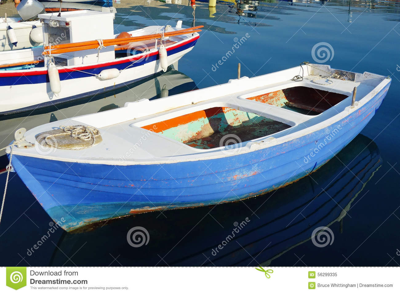 Small Blue Fishing Boat stock image. Image of blue, harbour - 56299335