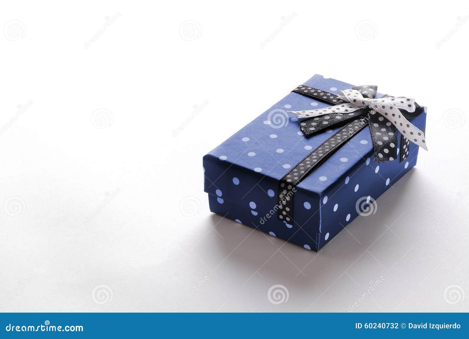 Small Blue Gift Box With Ribbon And Circles Stock Photo Image Of
