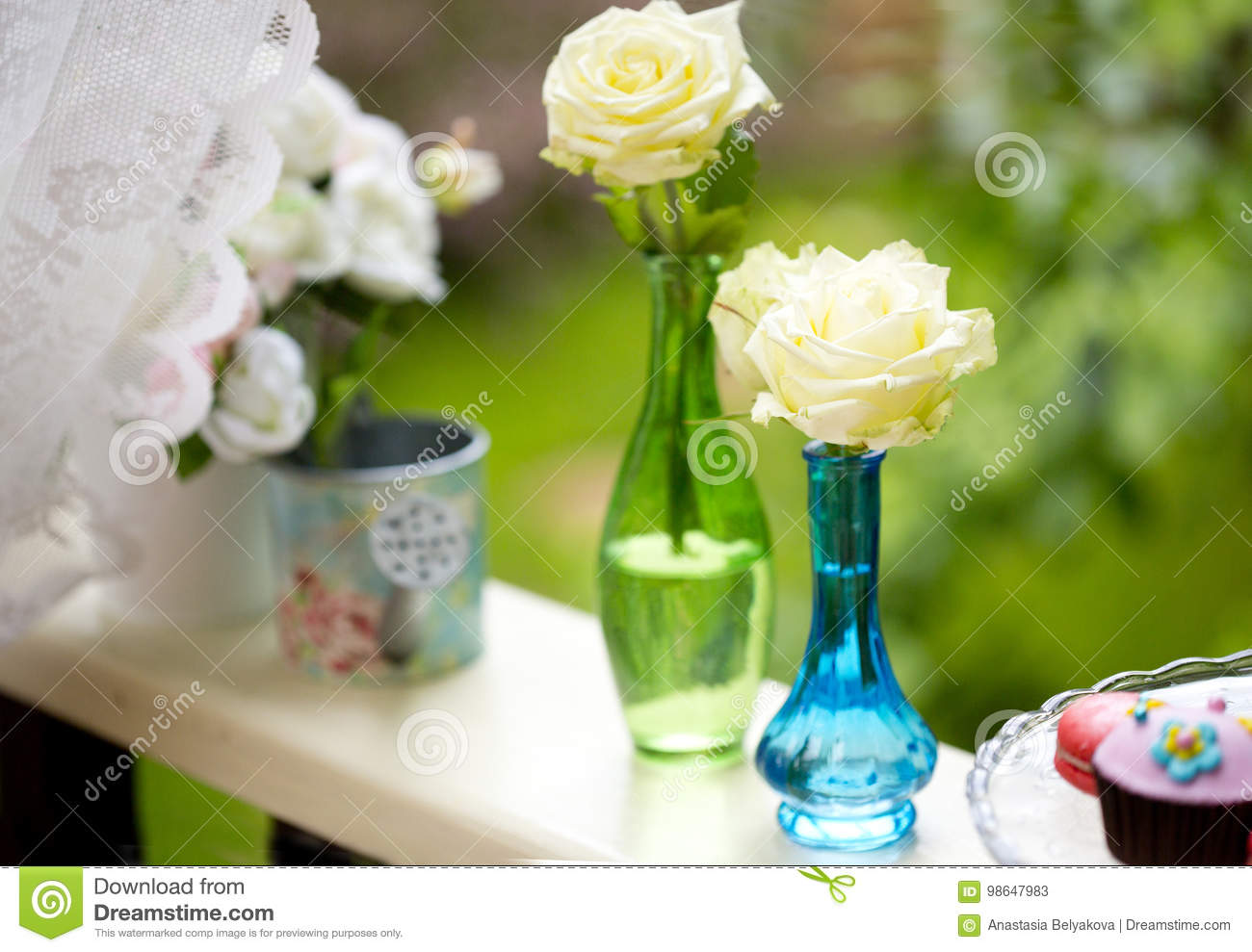 Small Blue And Green Vases With White Roses Stock Image Image Of
