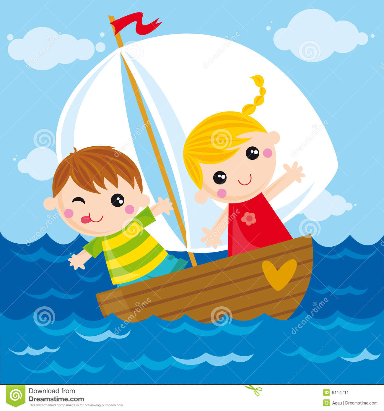 Illustration of two kids sailing in the sea.