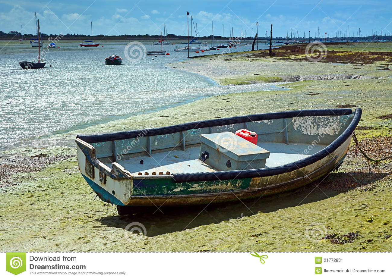 Small Boat At Low Tide Stock Image - Image: 21772831