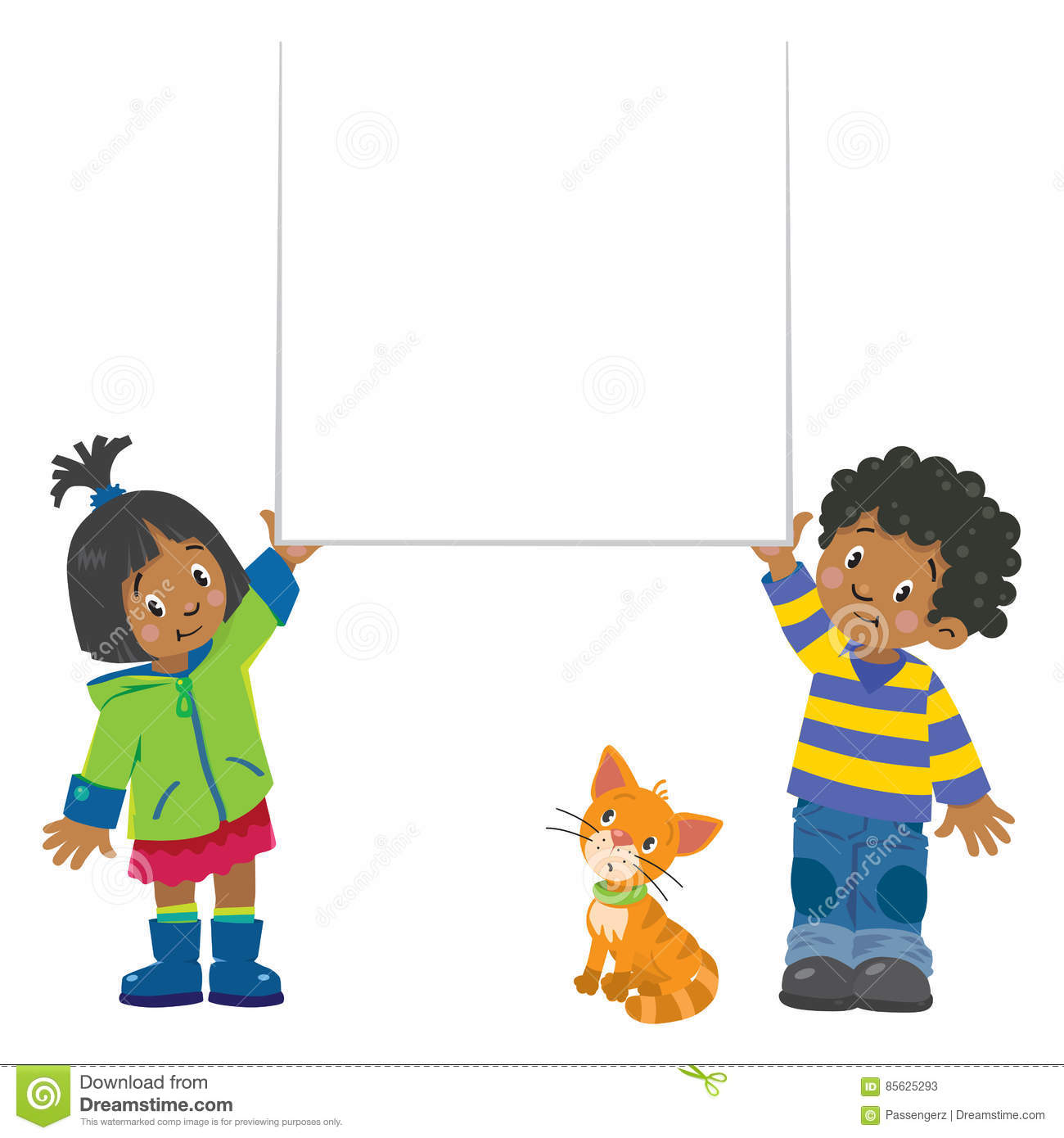 small boy and girl holding banner stock illustration