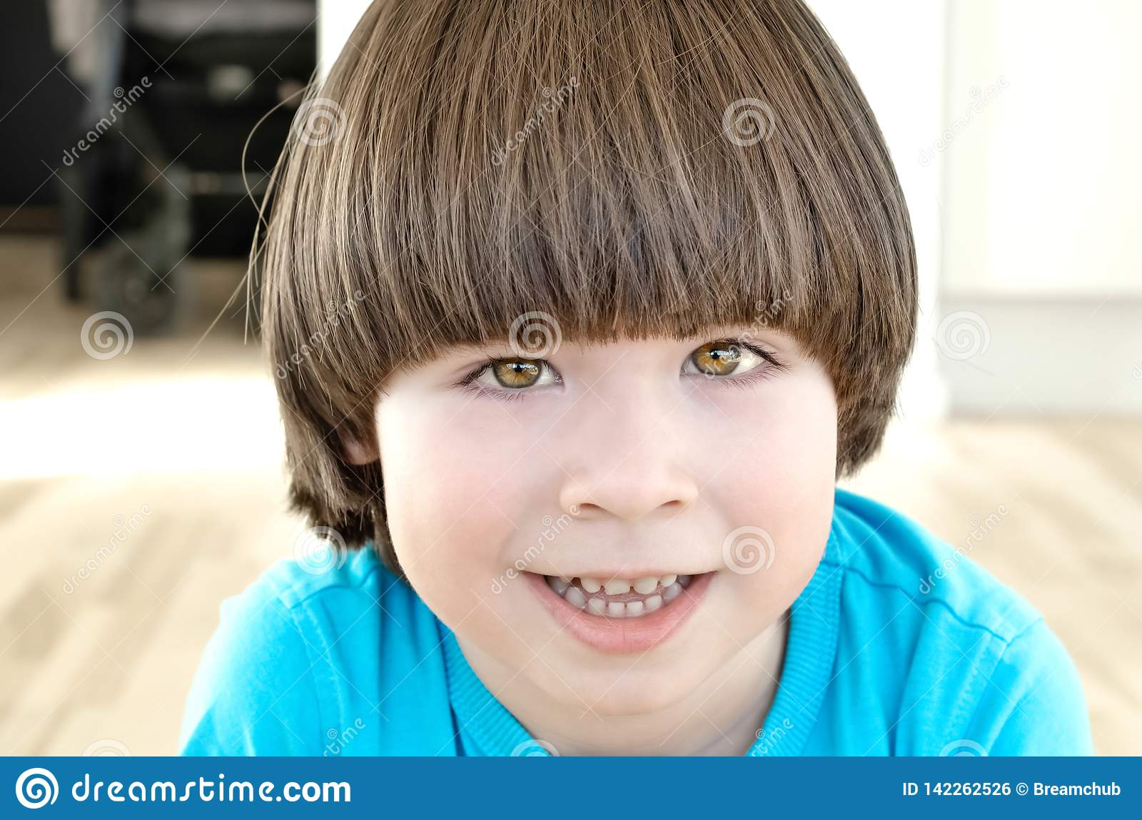Small Boy With Long Hair Is Smiling Stock Photo Image Of Preschool Little 142262526