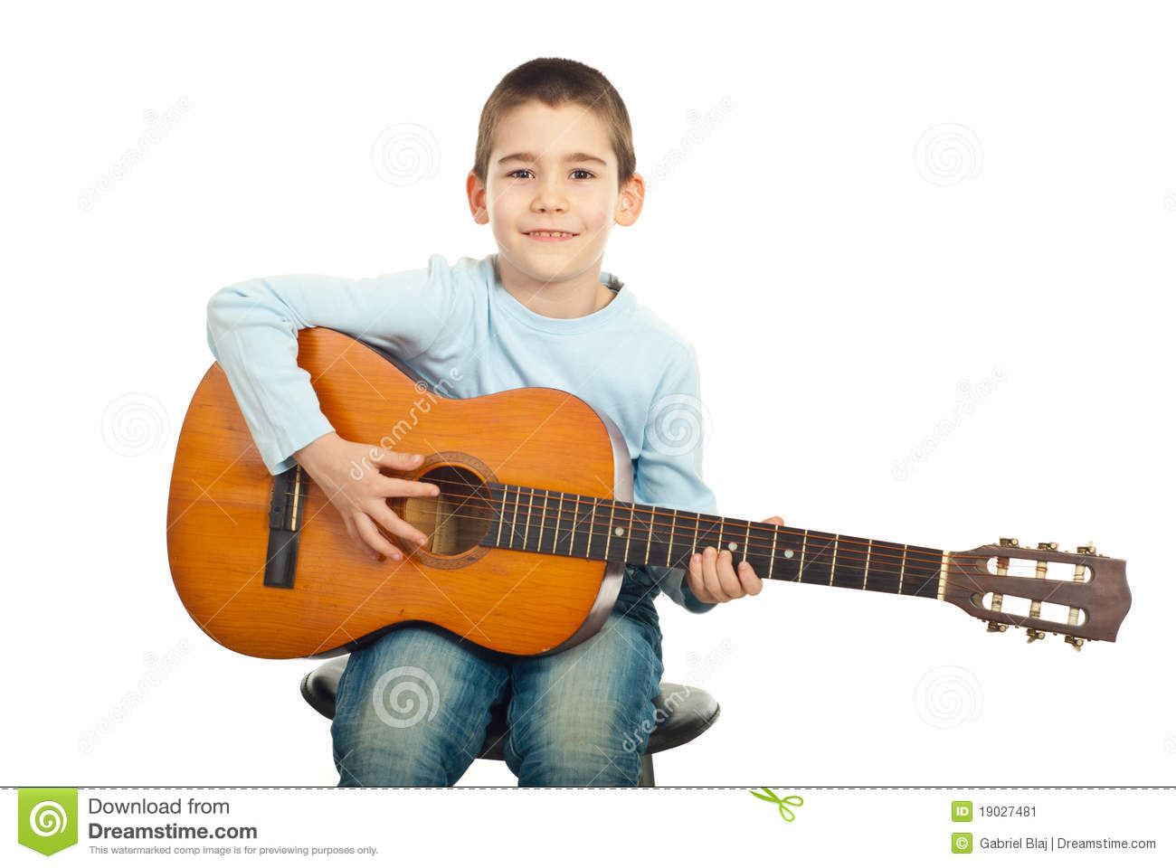 small boy playing guitar stock image image of sitting 19027481. Black Bedroom Furniture Sets. Home Design Ideas
