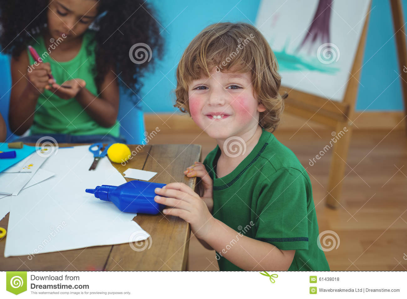 Small boy using arts and crafts supplies stock photo for Boys arts and crafts