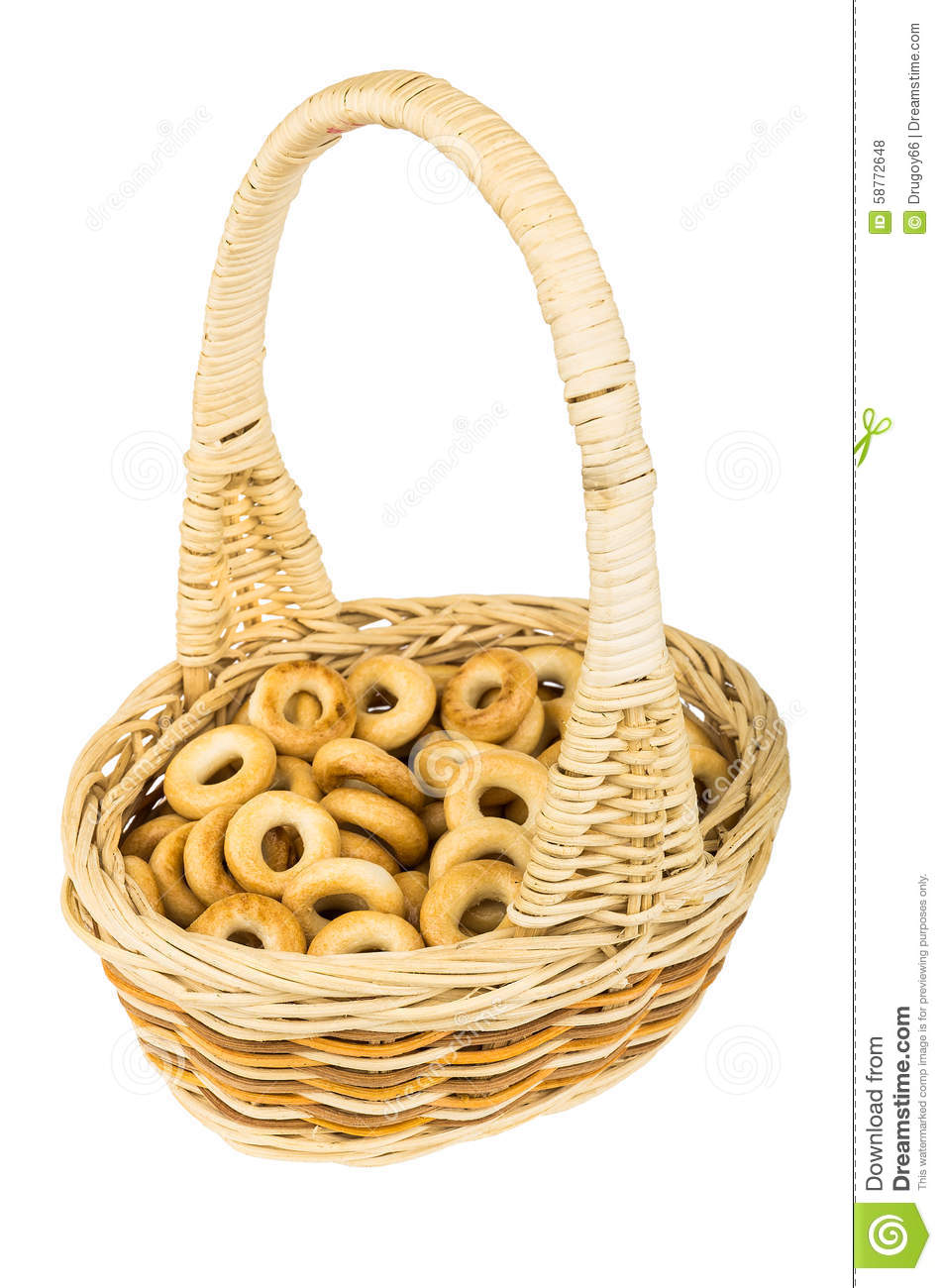White wicker baskets with handle - Small Bread Rings In Wicker Basket With Handle