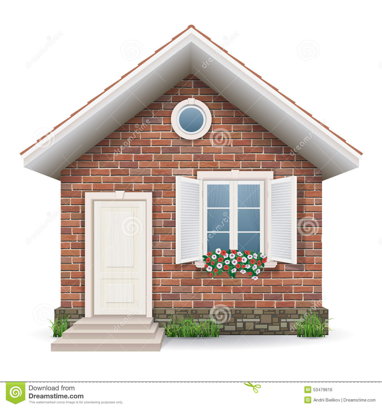 Small brick residential house stock vector image 53479616 - Small belgian houses brick ...