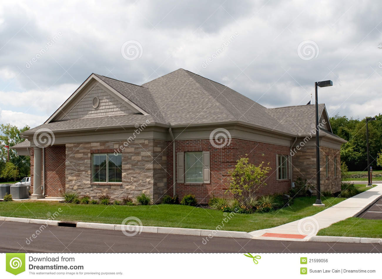 Small brick and stone building stock photo image of for Building a stone house