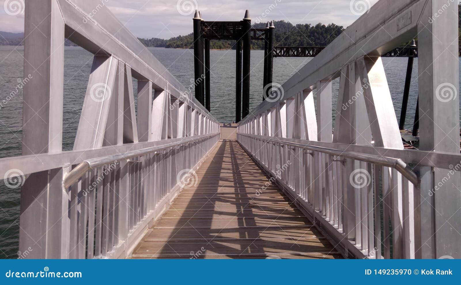 Small bridge at blue lake