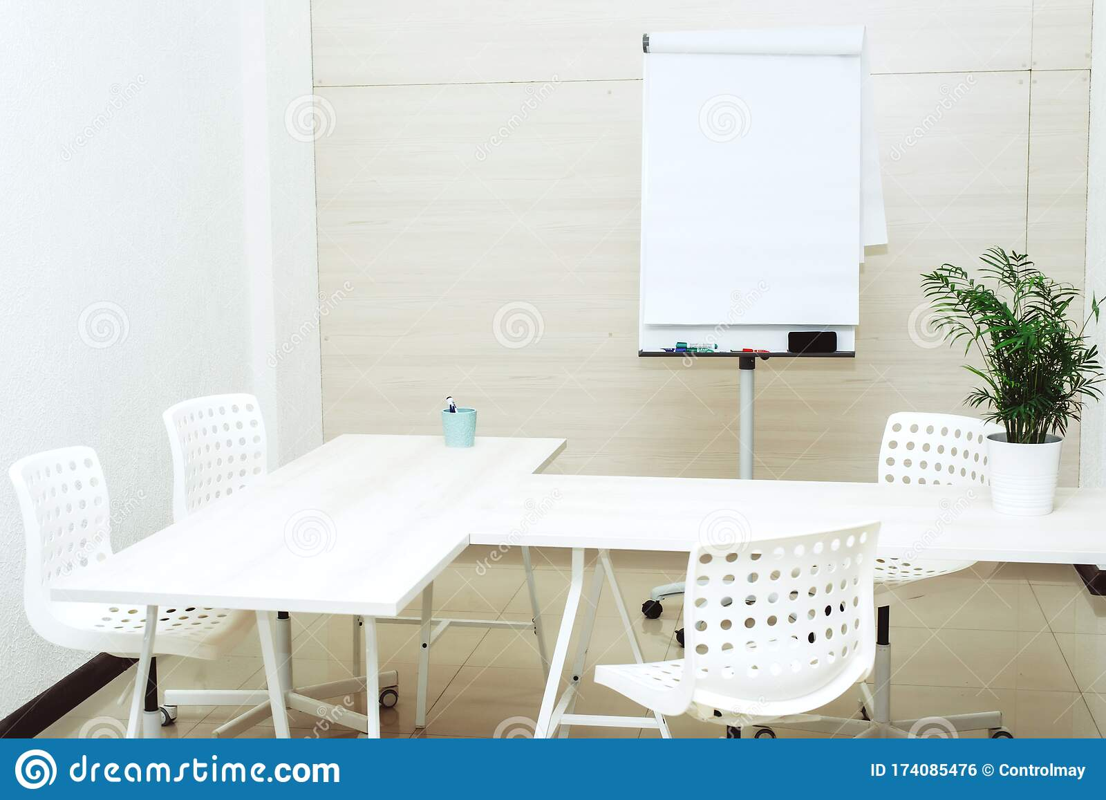 Small Bright Empty Office With Chairs A Table And A Flipchart A Small Cozy Room For Study At The University Copyspace Template Stock Photo Image Of Decoration Area 174085476