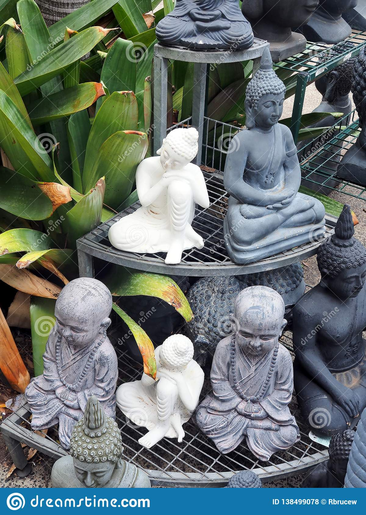 Small Buddha Sculptures At Garden Shop Stock Photo Image Of Plant Solid 138499078