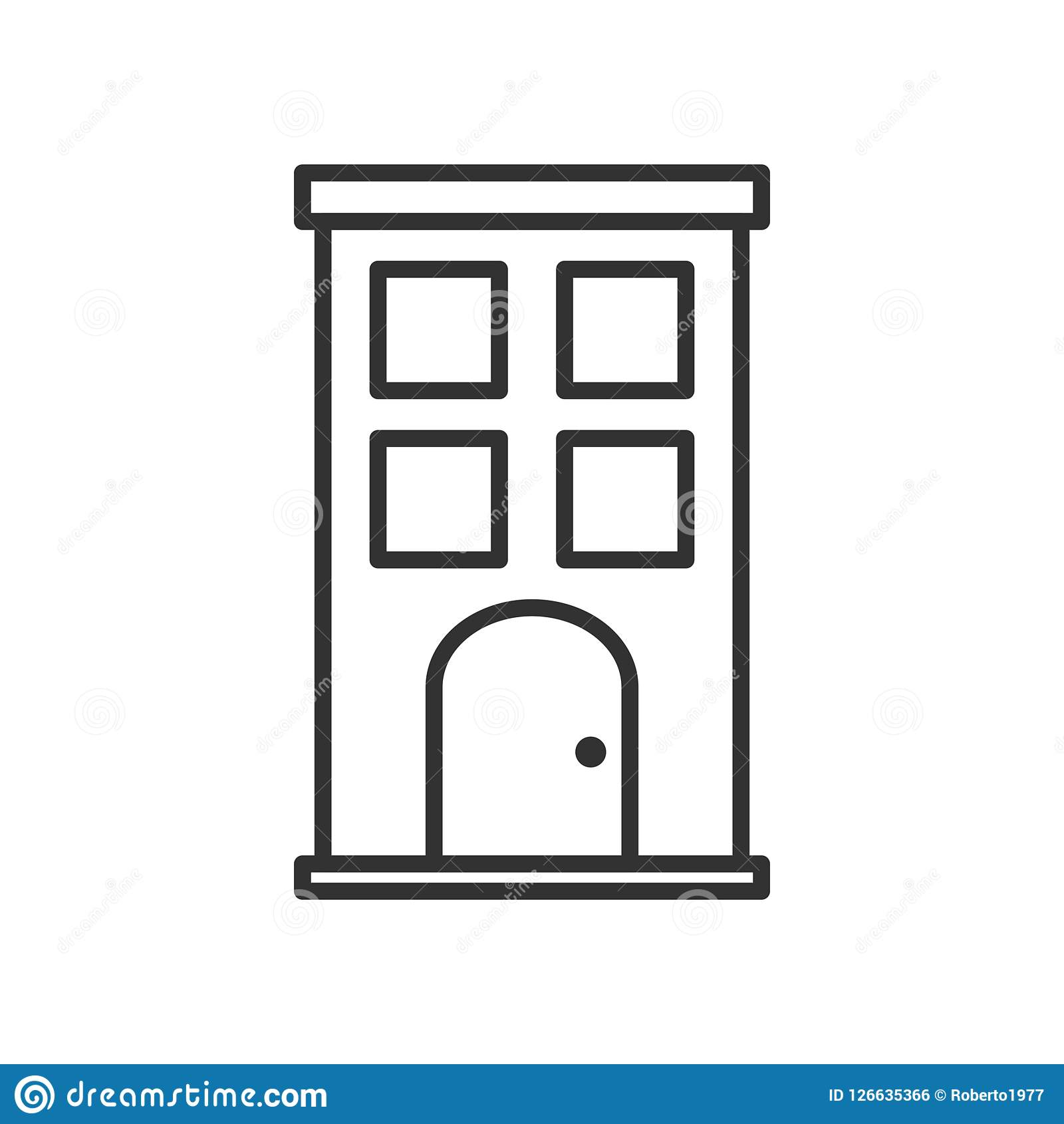 Small Building Outline Flat Icon on White