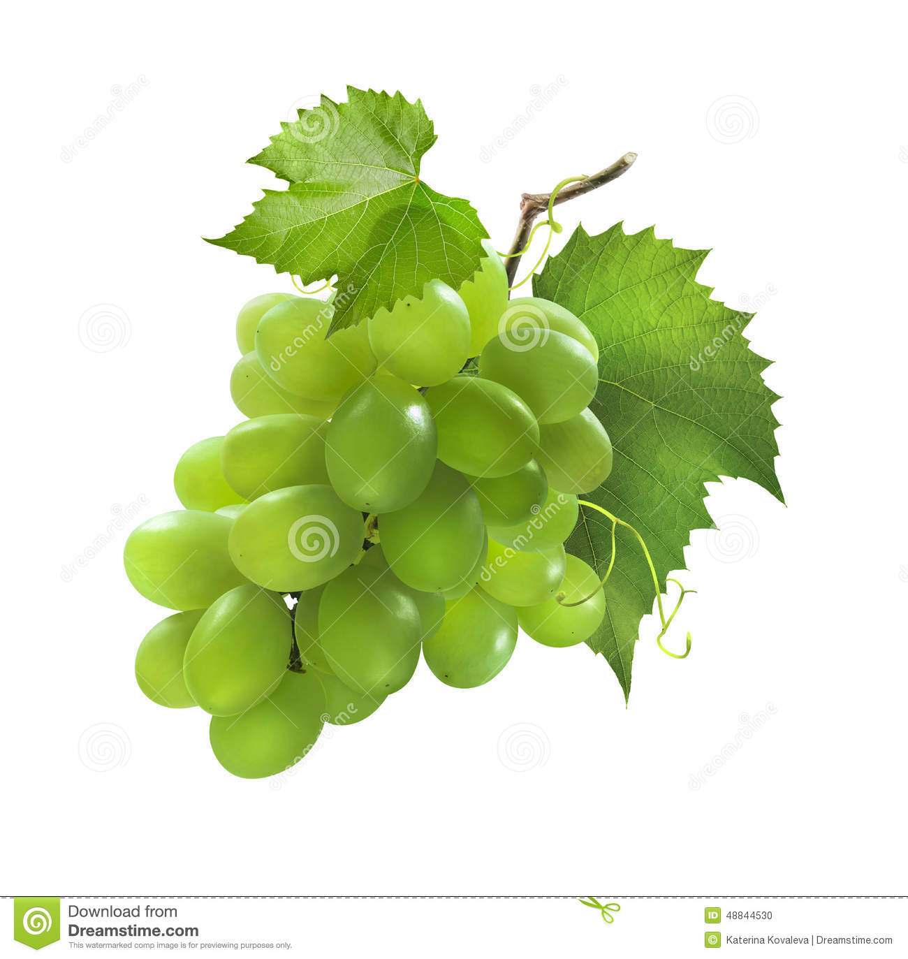Small Bunch Green Grapes Isolated White Background Package Design Element Strugure