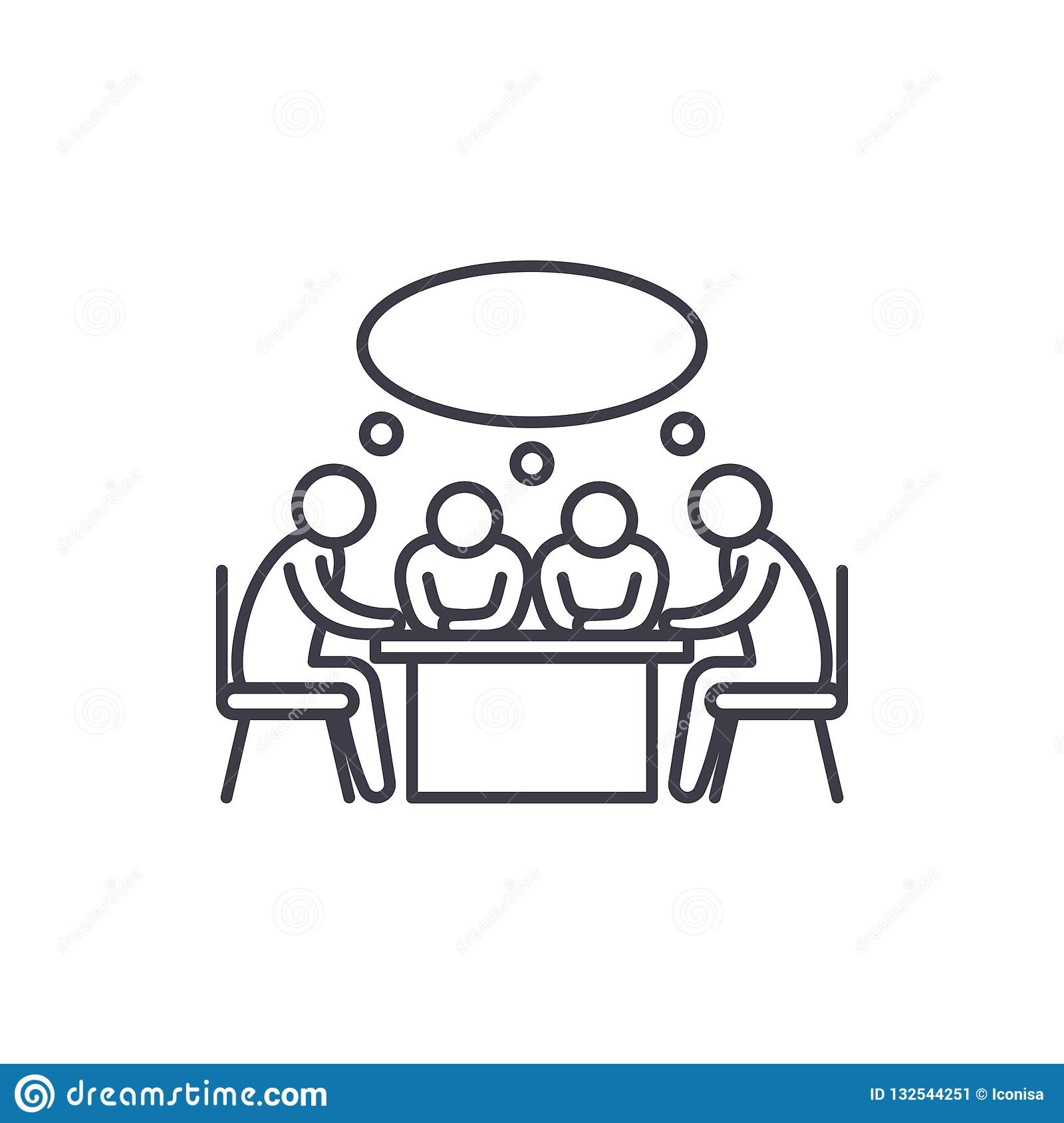 Small business meeting line icon concept. Small business meeting vector linear illustration, symbol, sign