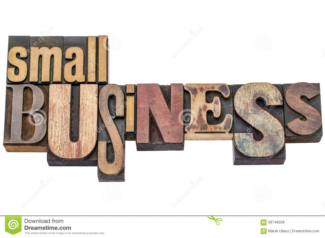 small business typography in letterpress wood type stock photo small business typography in letterpress wood type